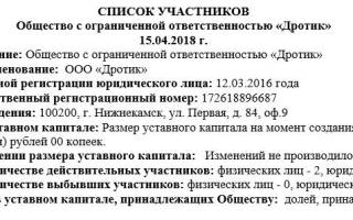 Список участников ООО образец заполнения 2018
