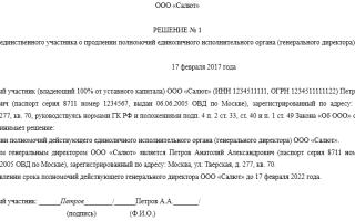 Продление полномочий директора ООО единственного учредителя образец