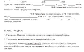 Протокол общего собрания учредителей ООО образец 2018